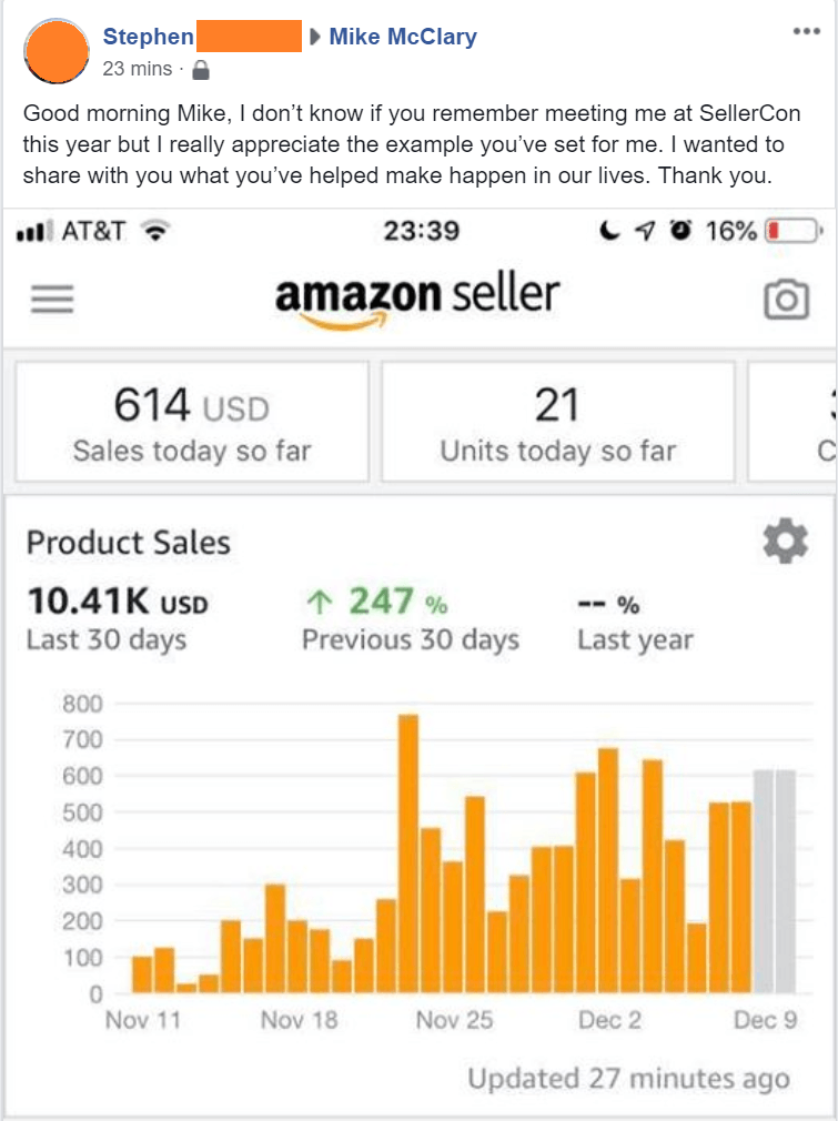 Amazing Selling Machine student results.